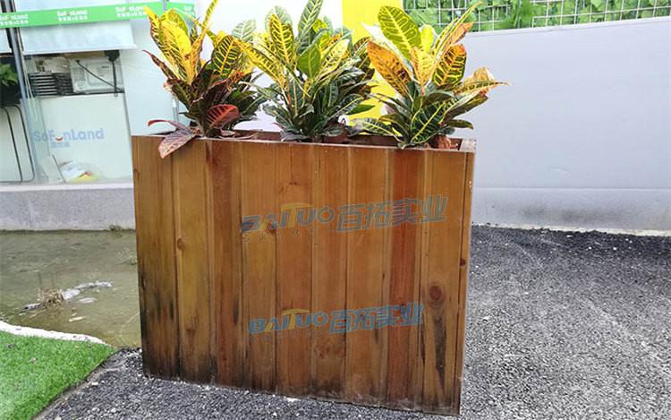 户外木质花箱实物图