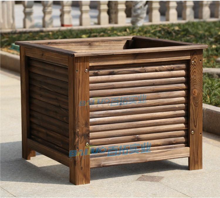 户外木制花箱展示图