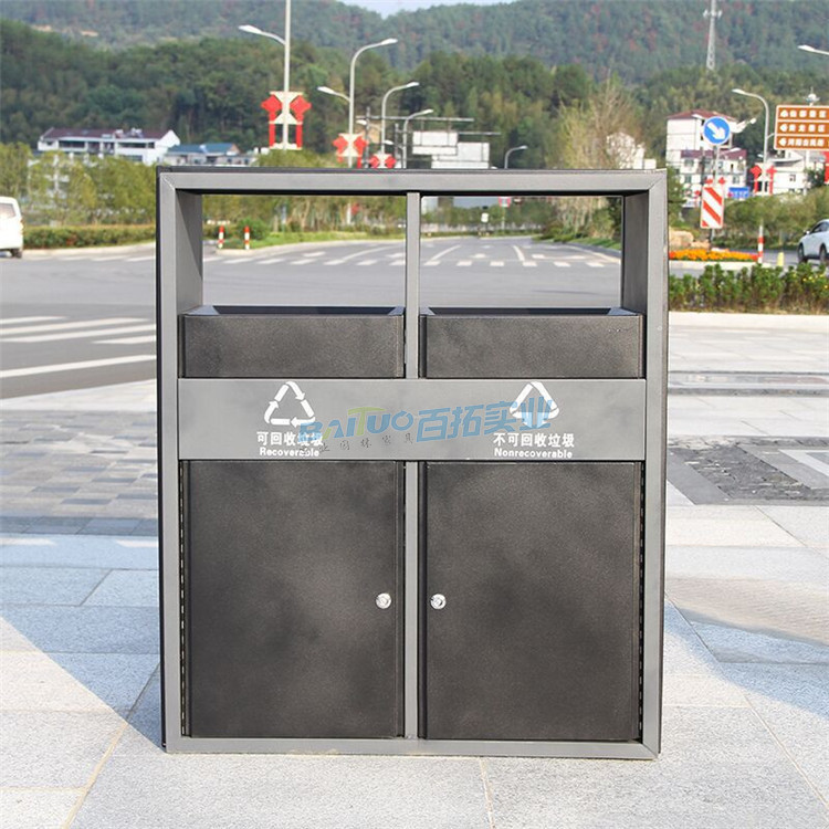 室外方形铁垃圾桶正面图