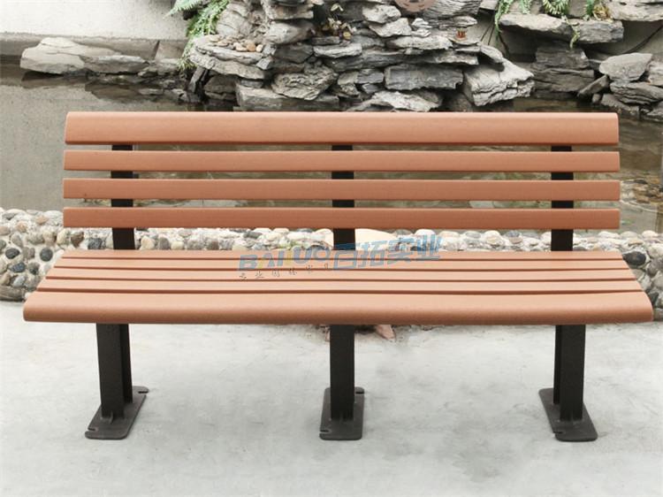 公园休闲凳子正面特写图