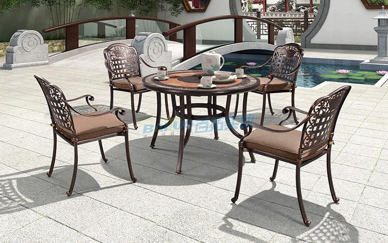 户外餐桌椅细节展示图