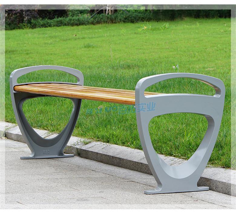 公园实木长凳侧面展示图