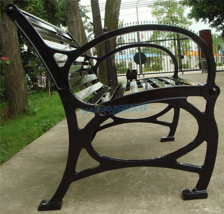 公园长铁凳侧面细节展示图