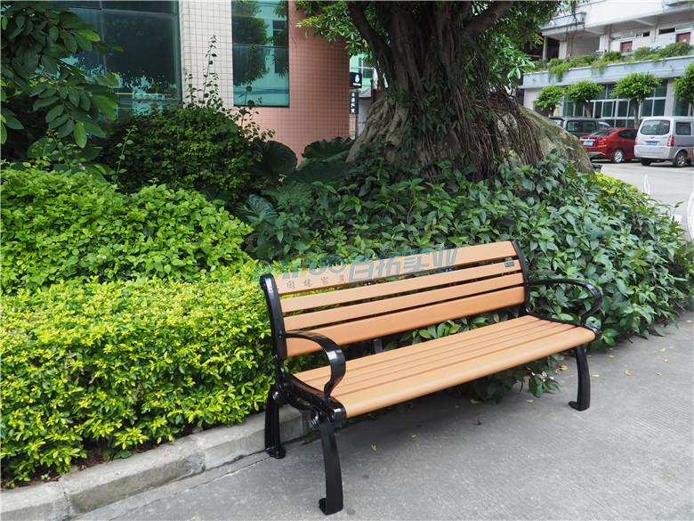 公园休闲长凳安装效果图
