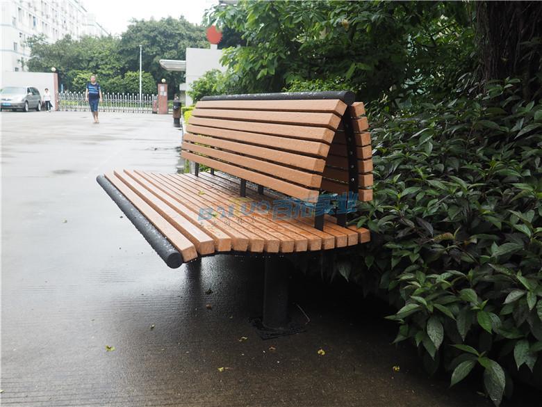 公园长凳子近景细节图