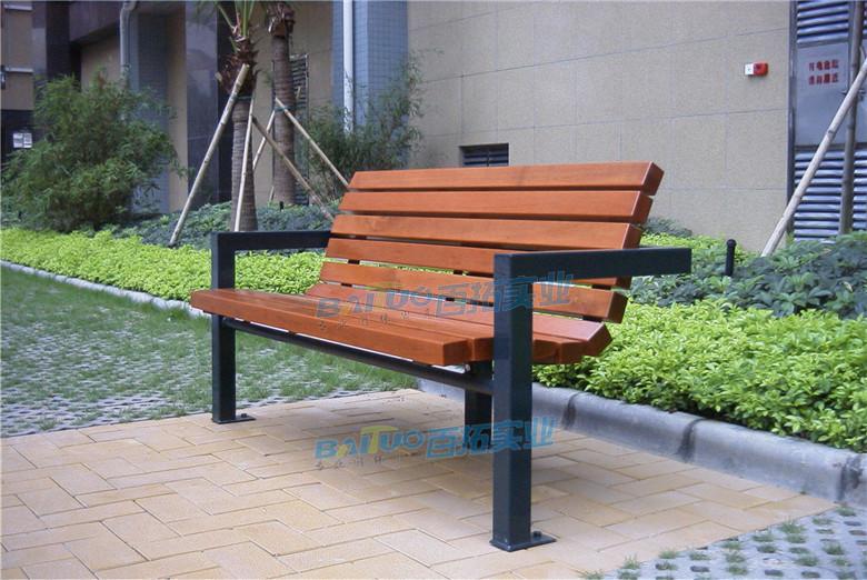 户外家具条型凳靠背长椅安装效果图
