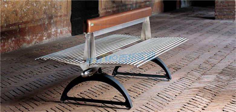 户外金属长凳侧面展示图