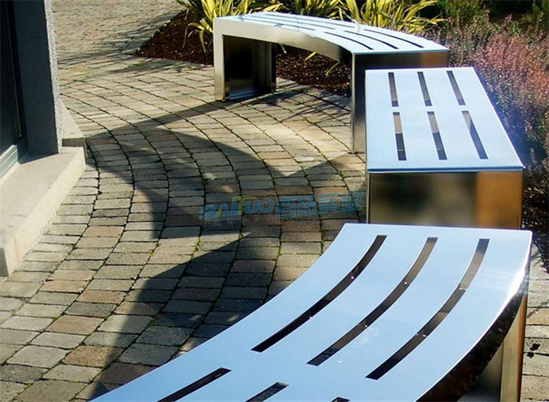 不锈钢户外休闲凳椅面特写