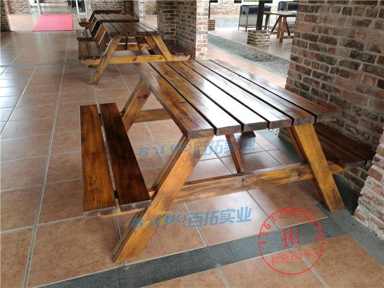 户外木质桌椅厂家展示图